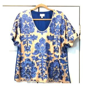 Tracy Reese sequined blue and tan top size large